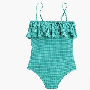 JCrew Ruffle Bandeau One-Piece Swimsuit Gingham